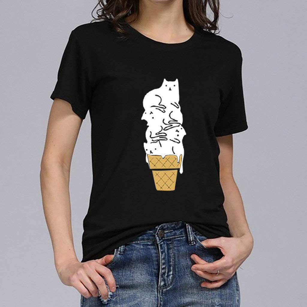 Womens Tops Miuye Summer Cute Cat Print Tops Short Sleeve T-Shirts Blouse Tunic Graphic tees Tanks