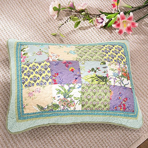 DaDa Bedding Frosted Pastel Gardenia - Bohemian Real Patchwork Quilted Pillowcase Sham - Bright Vibrant Floral Paisley - Colorful Blue Lavender Green - King Size 20