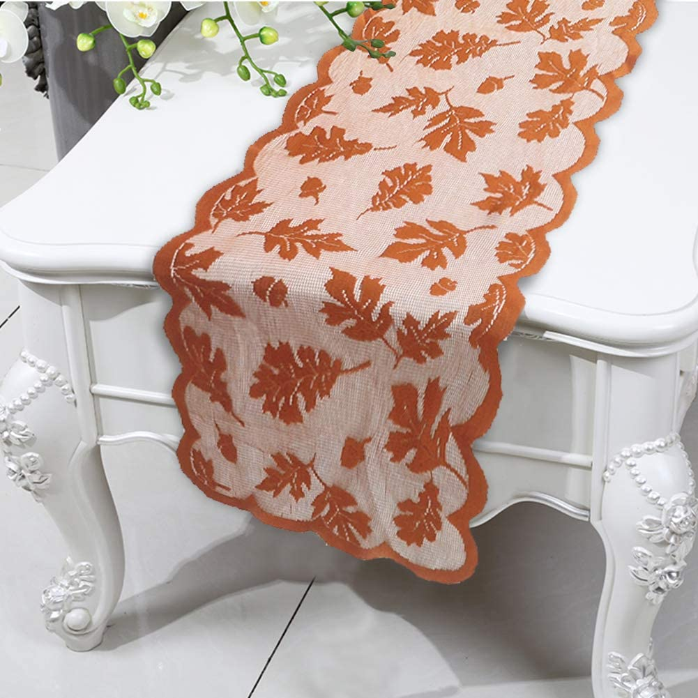 Besslly Fall Table Runner 13 x 72 Inch Thanksgiving Decorations for Home Maple Fall Leaves Harvest Lace Long Table Runners Thanksgiving Dinner Seasonal Autumn Decor Gifts: Home & Kitchen