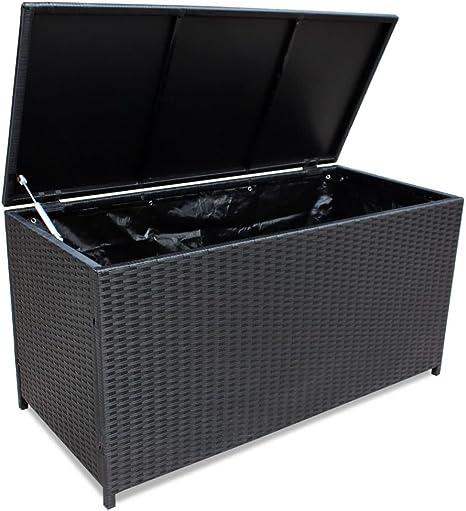 mewmewcat Baúl Caja de Almacenamiento para Jardín Negro 150x50x60 cm con un Forro de Lona de 180 g/m²: Amazon.es: Deportes y aire libre