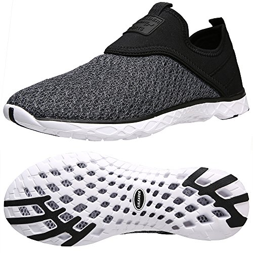 Aleader Men's Slip-on Athletic Water Shoes Black/Gray 8.5 D