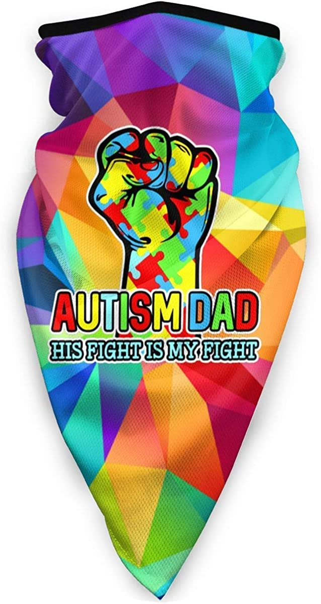 Autism Dad His Fight is My Fight Puzzle Fist Outdoor Mask,Protective 5-Layer Activated Carbon Filters Adult Men Women Bandana