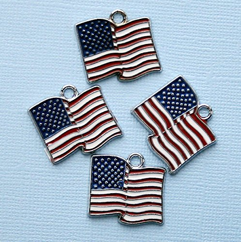 Flag Pendant Charm Usa (2 USA Flag Charms Silvertone Enamel E068 Jewelry Making Supply Pendant Bracelet DIY Crafting by Wholesale Charms)