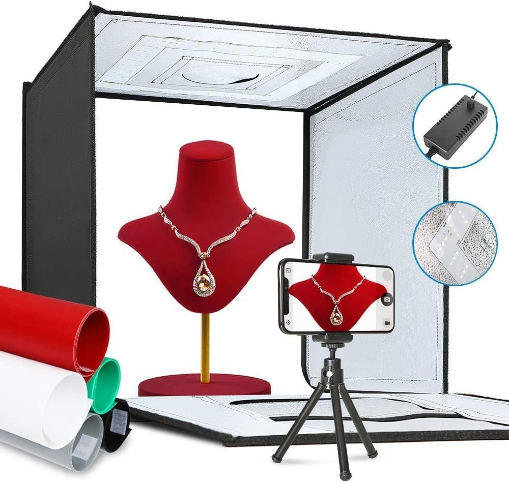 Portable Folding Photography Studio Box Booth Shooting Tent Kit with 5 Backdrops /& Phone Holder /& Tripod Stand for Photography ShowMaven Photo Light Box