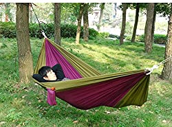 Yosoo (TM) Ultralight Hammock Travel Camping Outdoor Nylon Fabric Hammock Parachute Bed for Double Two Person with Free Pen High Quality By Wasooo
