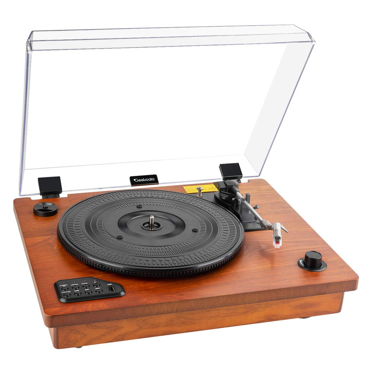 Record Player- Geekoala Turntable, Vinyl Player Bluetooth, Vinyl Turntable 3 Speed, Vinyl Record Player with Built-in Stereo Speaker, Vinyl-to-MP3 Recording, Classic Wooden