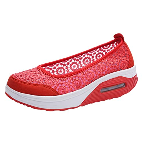 Yiiquanan Donna Traspirante Mesh Platform Sportive Pattini Fitness Scarpe da Ginnastica Sneaker da Zeppa (Nero,EU 39.5)