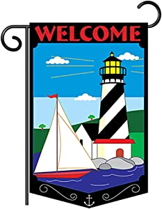 Two Group G156035-P2 Welcome Lighthouse Coastal Nautical Decorative Vertical Garden Flag, 13