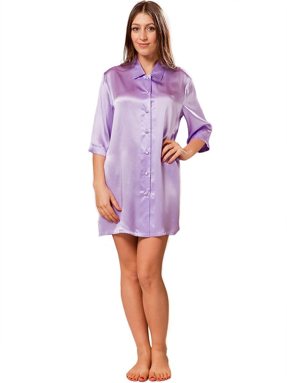 ElleSilk Women's Silk Nightshirt, 100% Mulberry Silk