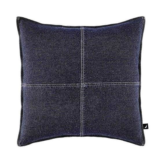 Nautica Seaward Denim 18-inch decorative pillow, 18 inch - Pieced with block design 100Percent Cotton denim Features double needle stitching - living-room-soft-furnishings, living-room, decorative-pillows, comforter-sets, bedroom-sheets-comforters, bedroom - 61q5oKEnsML. SS570  -