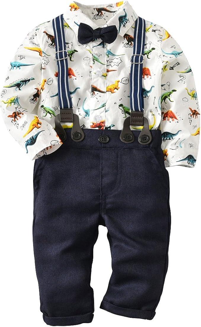 MissChild Bebé Niño Ropa Camisa/Bodysuit de Manga Larga + Pantalones de Tirantes Conjunto de Caballeros de Otoño con Caballero Bowtie: Amazon.es: Ropa y accesorios