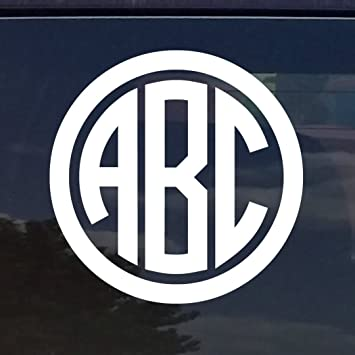 Amazoncom CUSTOM CIRCLE MONOGRAM INITIALS VINYL DECAL STICKER - Custom stickers for yeti cups