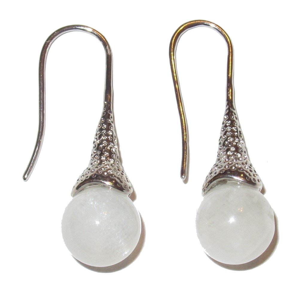 Fancy Silver Metalwork Crystal 01 Moonstone Earrings 1.2 White Luminous Sheen 10mm Gems