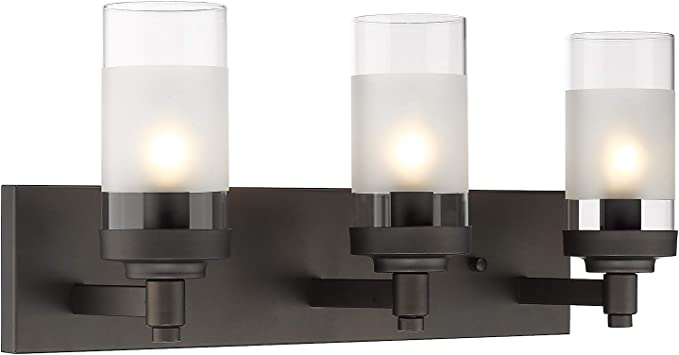 Emliviar 3 Light Bathroom Vanity Light Fixtures Oil Rubbed Bronze Finish With Clear Frosted Glass Shade Je1982 3w Orb Amazon Com
