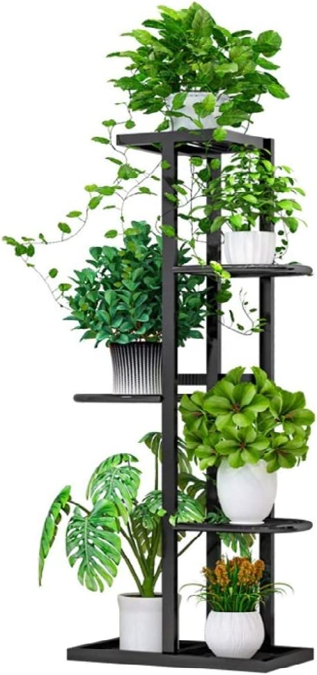 Amazon Com Flower Plant Stand Indoor 5 Tier Metal Plant Stand Flower Pots Stander Display Pots Holder Black Garden Outdoor
