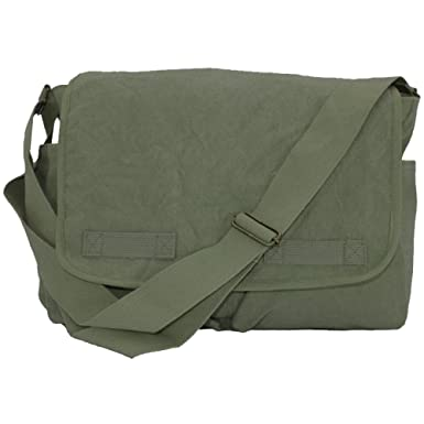 Amazon.com: Classic Canvas Messenger Bag Olive by Army Universe ...