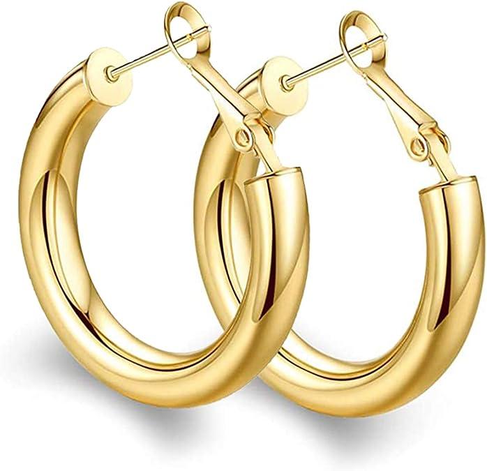 Womens 2 in 1 Hoop Earrings White Gold Plated Big 5cm 50mm 2 inch UK
