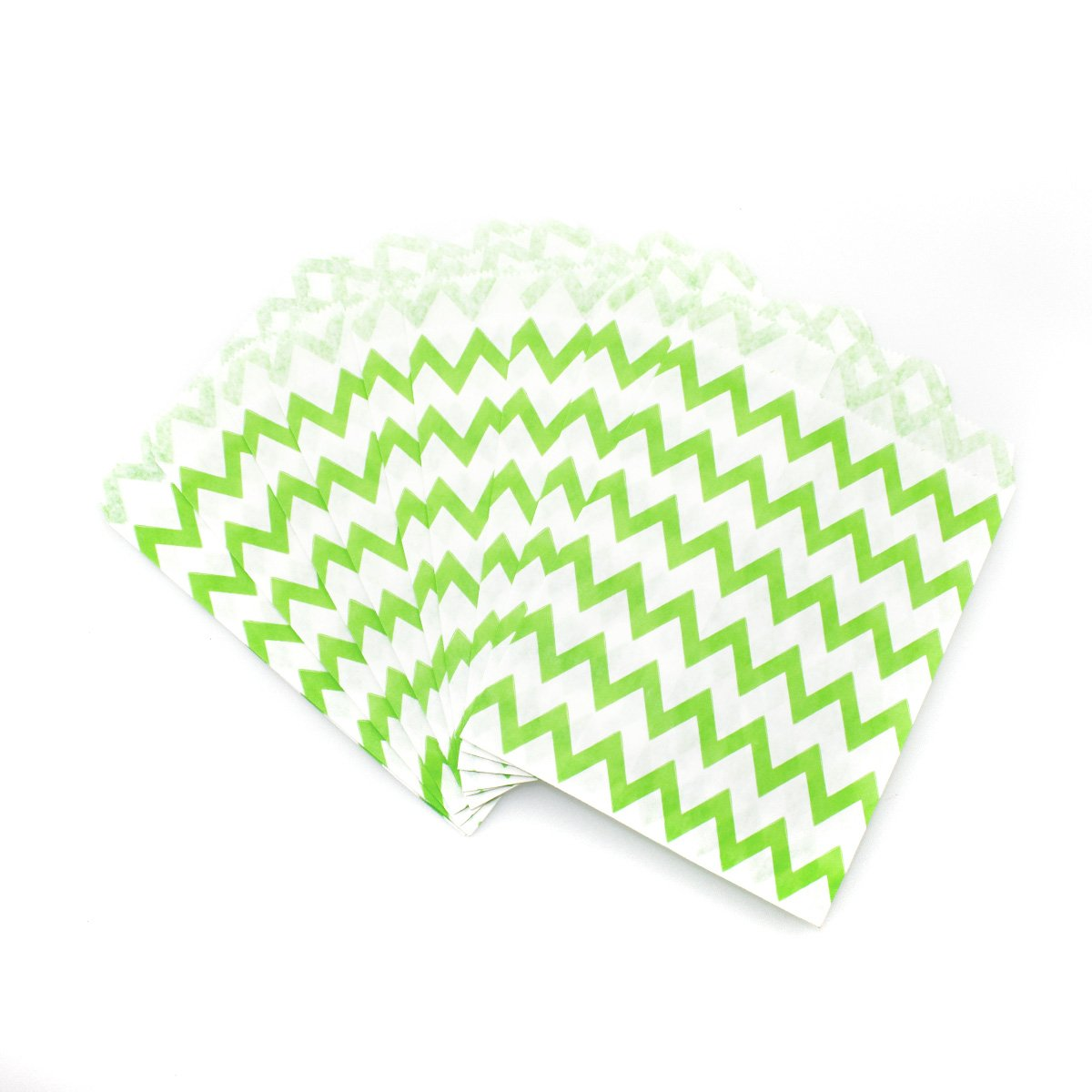 Polka Dot Favor Bags Chevron 75 Count Green and White Paper Treat Sacks Candy Stripe 5 x 7 inches