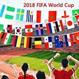 VAMEI 2018 World Cup String Flags Banners with 32 Country Flags 30 Feet for Restaurant Sports Clubs Bar Party Decorations
