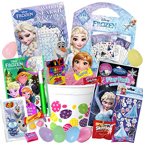 Frozen Easter Basket Stuffers 21 Piece Kit, Includes Elsa Activity Books, Frozen Stickers, Anna Play Pack, Olaf Word Search, Frozen Jelly Beans, Easter Eggs, Easter Candy Pink Easter Grass, and MORE ()