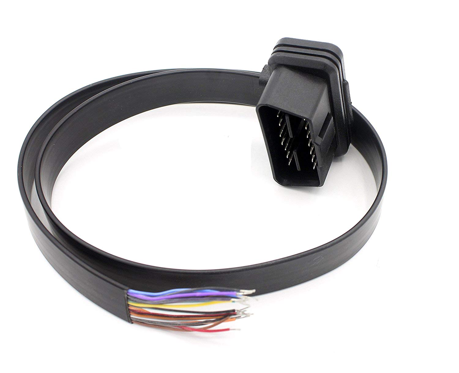 LoongGate OBD-II 16 Pin to To End Open Plug Wire 0.3 Meters OBD2 Female 16 Pin Round Extension Connector Diagnostic Cable