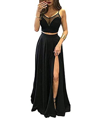 Vweil Spaghetti Straps 2 Pieces Prom Dress Slit Side Formal Evening Gown