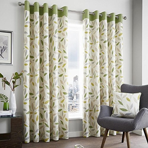 (Beechwood Leaf Green Fully Lined Eyelet Grommet Top Curtains > 46