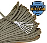 Bored Paracord 550lb Paracord / Parachute Cord - Genuine Mil Spec Type III 550lb Paracord Used by the US Military (MIl-C-5040) - 100% Nylon - Made In The USA - Khaki