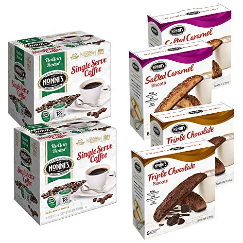 (Nonni's Coffee and Milk Chocolate Biscotti Collection Featuring Italian Roast Single-Serve K-cup Pods, Salted Caramel Biscotti and Triple Chocolate Biscotti (36 K-cup Pods and 32 Biscotti))