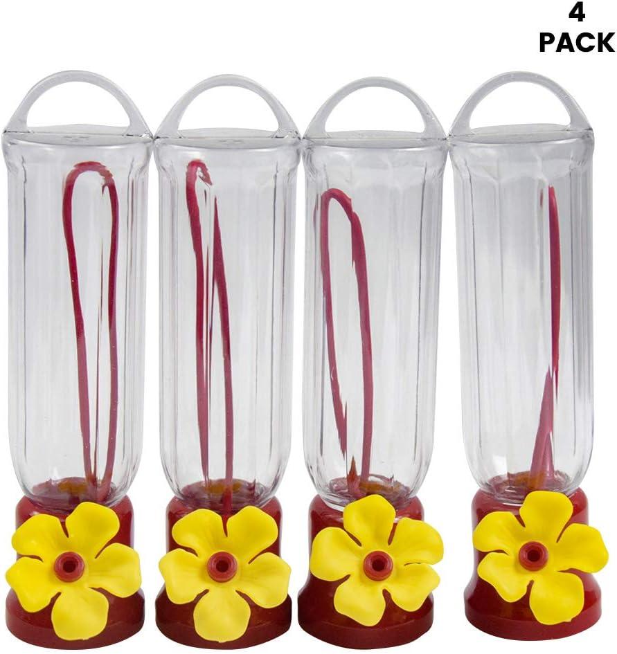 4PacK Mini Hummingbird Feeder Window Mount Suction Cup Wild Bird Flower Feed