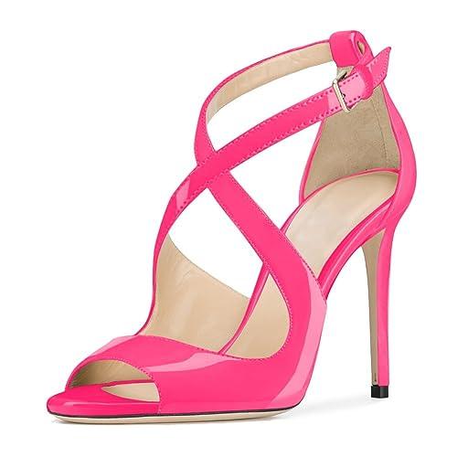 5da05e9dc29 UMEXI Women Cross Ankle Strap Peep Toe Stiletto High Heels Sandals ...