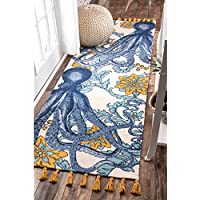 Handmade Whimsical Nautical Octopus Patterned Area Rug, Bright Underwater Creature Flowers Corals Themed, Runner Indoor Hallway Entryway Living Area Bedroom Carpet, Modern Design, Blue, Size 28 x 8