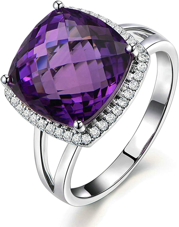 Daesar Anillos de Mujer Oro Blanco 18 Anillo Cuadrada Amatista Púrpura 10.55ct y Diamante 0.25ct