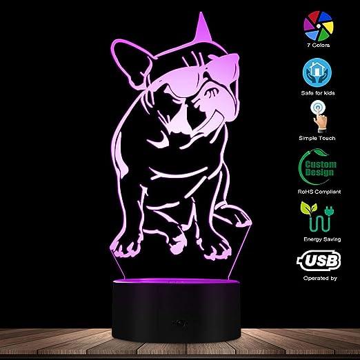 Franzosische Bulldogge Led Nachtlicht Frenchie Hund Mit Sonnenbrille 3d Dekorative Beleuchtung Farbwechsel Acryl Lampe Geschenk Fur Hundeliebhaber Amazon De Beleuchtung