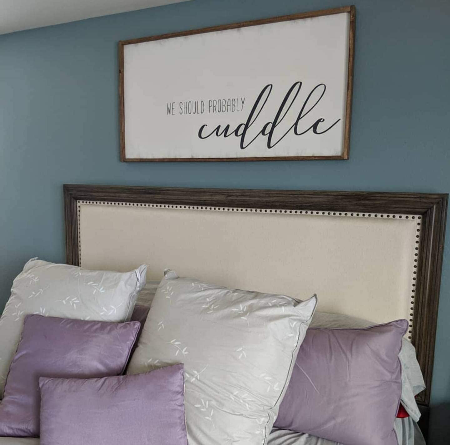 Amazon Com Celycasy We Should Probably Cuddle Sign Bedroom Sign Over The Bed Sign Large Bedroom Sign Wood Sign Master Bedroom Sign Farmhouse Bedroom Deco Home Kitchen