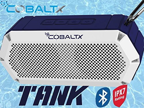 Tank Sound (COBALTX Tank Rugged Wireless Bluetooth Speaker iPX7 Rated Waterproof Shockproof Speaker 30FT Range (NAVY WHITE))