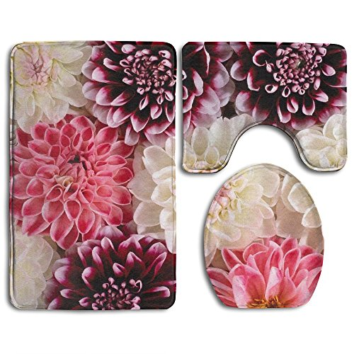 - YSSH HOME Dahlia Bloom Wallpaper Prints Non-Slip Bathroom Rugs 3 Piece Set Anti-skid Pads Bath Mat + Toilet Lid Cover + Contour