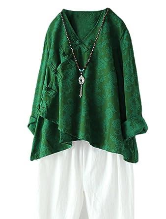 73cece2db61c84 Minibee Women s Long Sleeve Linen Retro Chinese Frog Button Tops Blouse  Green M