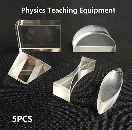 ESHINEY 5pcs K9 Physics Optical Prisms Experimental Apparatus Glass Brick Double Convex Cylindrical Lens Half Cylinder Lens (Bricks Prism)