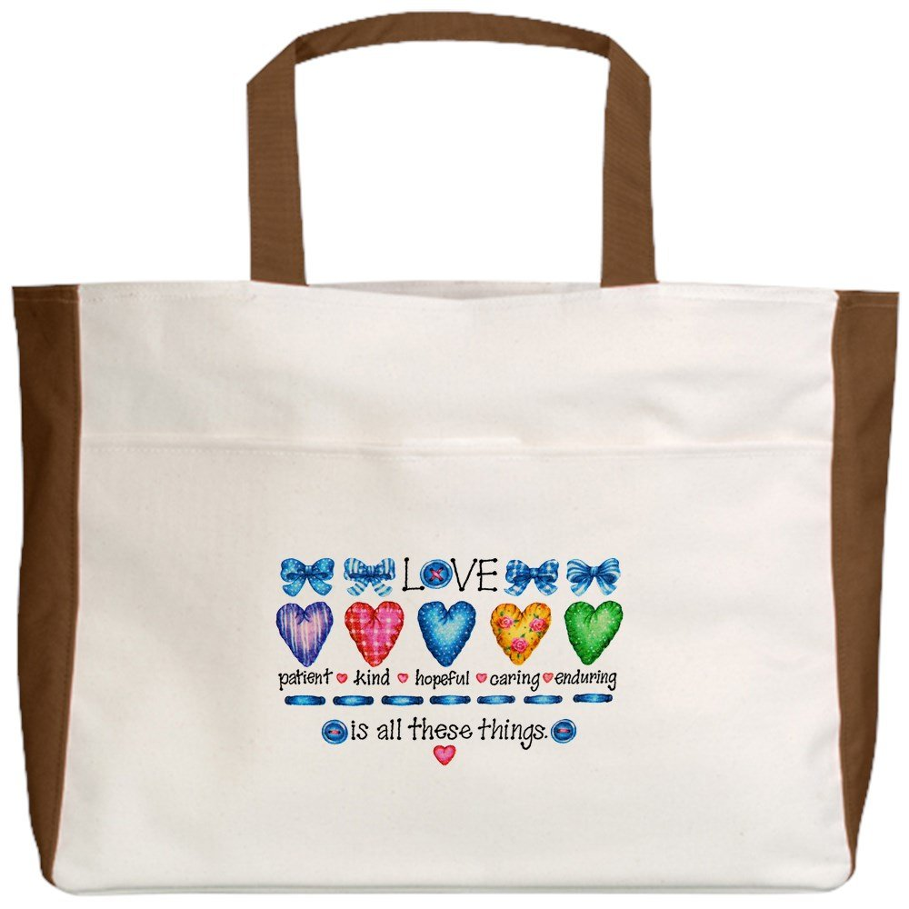 Royal Lion Beach Tote Love Patient Kind Hopeful Caring 2-Sided