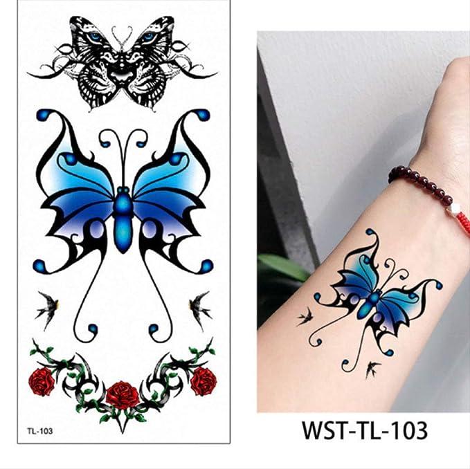 yyyDL Etiqueta engomada del tatuaje a prueba de agua Animal Body ...