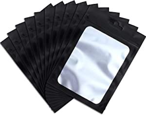 100 Pieces Resealable Mylar Ziplock Food Storage Bags with Clear Window Coffee Beans Packaging Pouch for Food Self Sealing Storage Supplies (Black, 4 x 7 Inch)