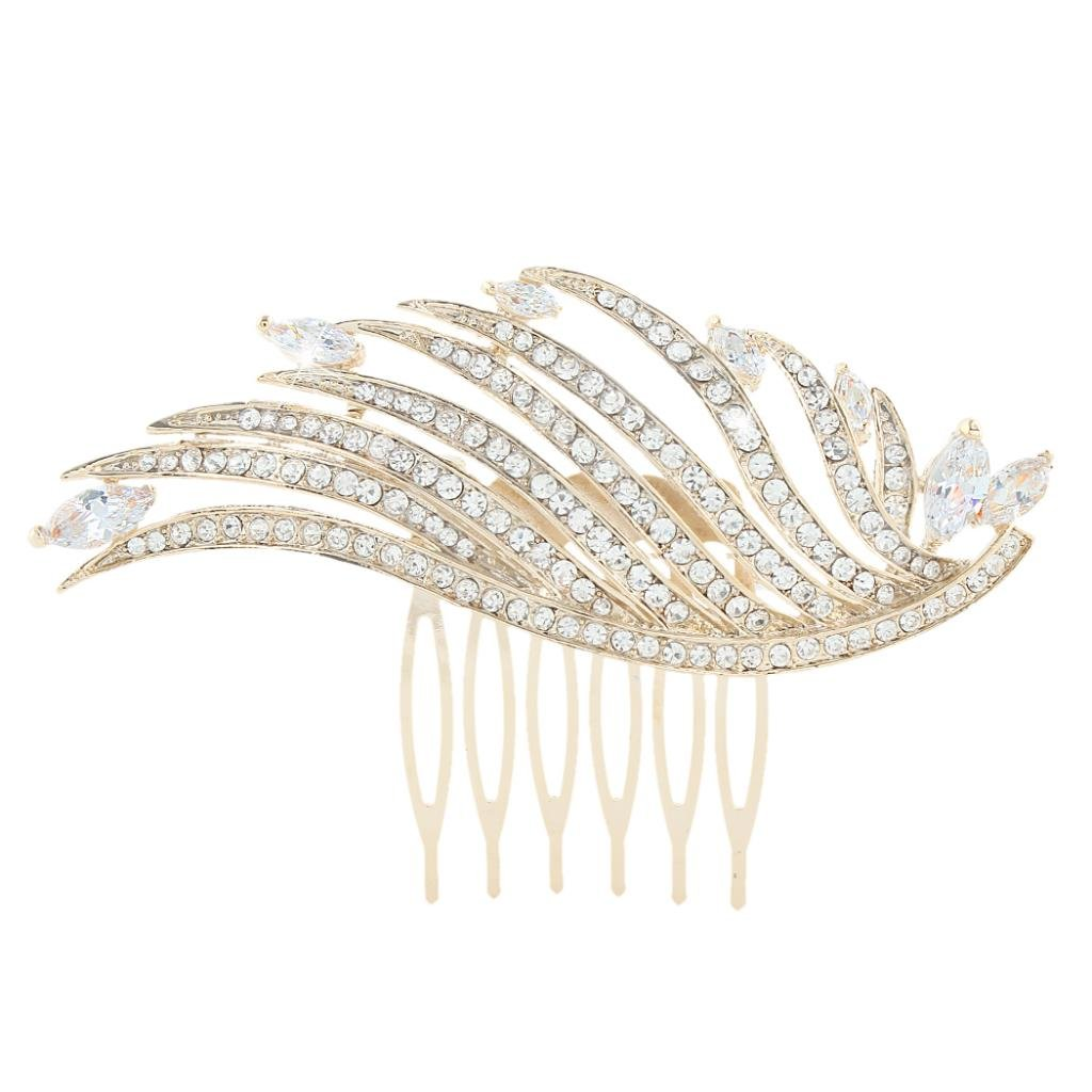 Ever Faith Angel Wing Hair Comb Wedding Clear Cubic Zirconia Crystal N04284-2