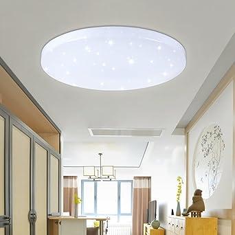 VINGO® 50W LED Wand-Deckenleuchte Weiß rund Deckenlampe Starlight ...