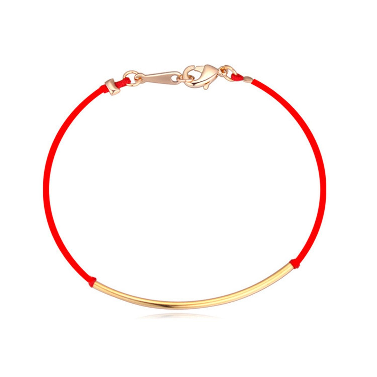 Flower-Bud born red rope braided bracelet high-end gold plated fine jewelry past and present Korean jewelry,Rose Gold by Flower-Bud (Image #7)