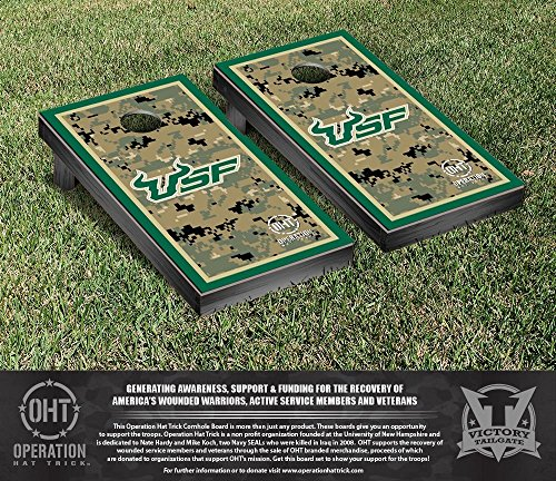 Operation Hat Trick South Florida USF Bulls Cornhole Game Set Border Version by Victory Tailgate