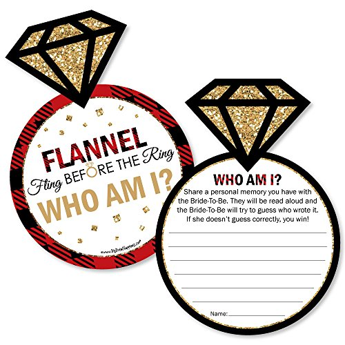 Flannel Fling Before The Ring - Buffalo Plaid Bachelorette Party Game - Who Am I Game Cards - Set of 20