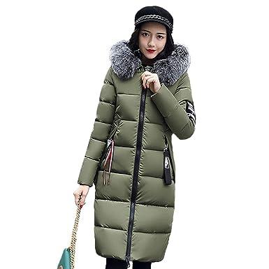 df9a4edf65a2e5 HANMAX Damen Daunenjacke Winterjacke Lange Daunenmantel Winter Warm Mantel  Parka Jacke Outwear Oberbekleidung Trenchcoat mit Pelzkragen