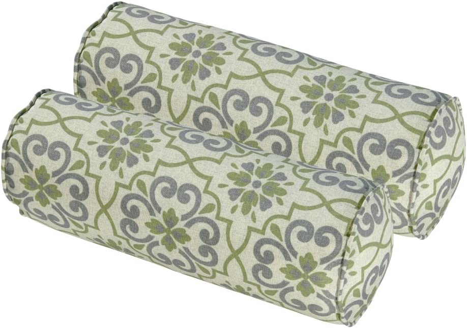 BOSSIMA Indoor Outdoor Round Bolster Pillow, Lumbar Roll, Chair Seat Posture Corrector, Corded Cushion Set of 2,Green Grey Damask
