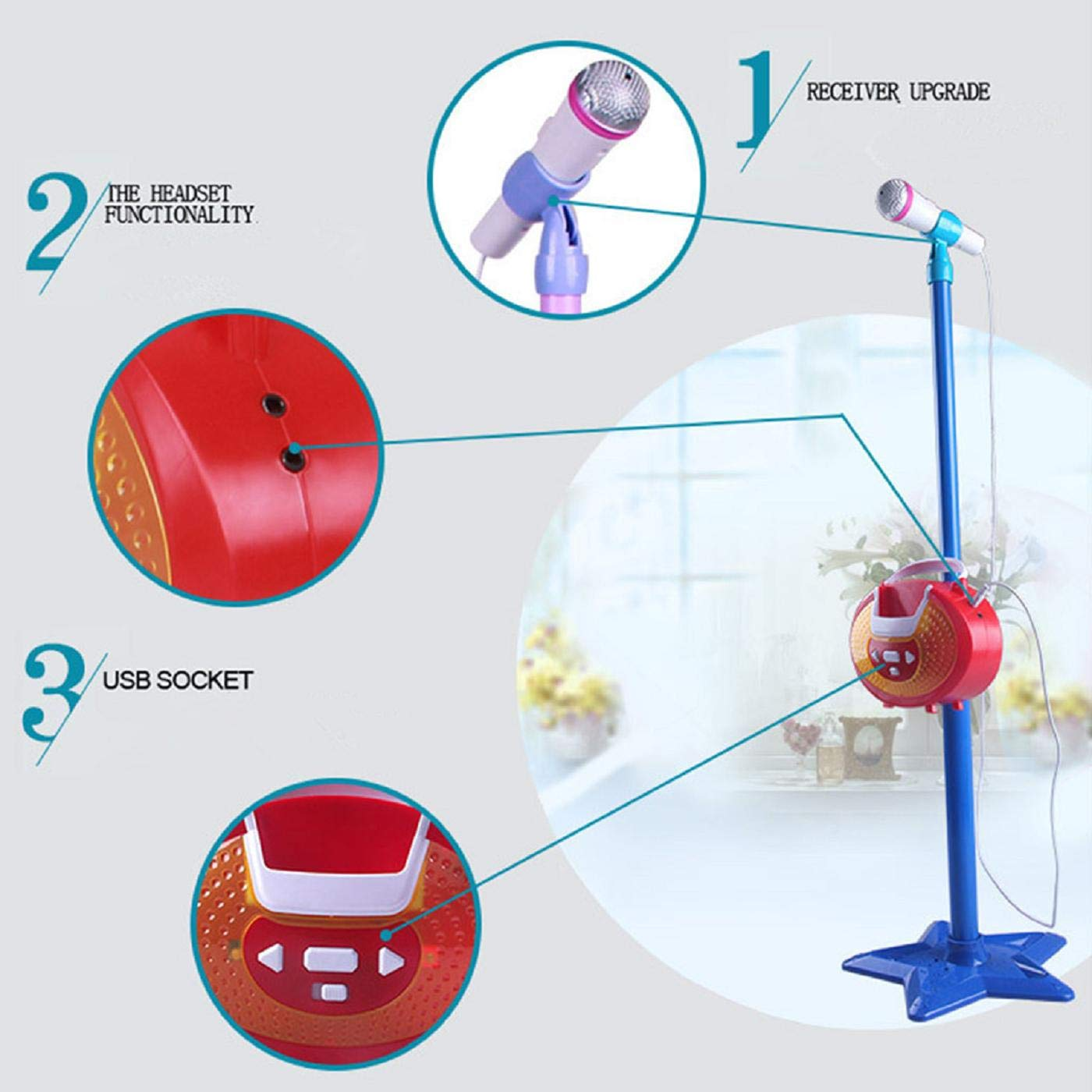 Putars Kids Girls Mp3 KaraokeMicrophone Adjustable Stand Light Sound,Music Sing Along with Flashing Stage Lights and Pedals for Fun,Microphone and Mic Stand - Online Exclusive by Putars toy (Image #4)